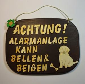Spruch aus Holz in braun ★ Achtung! Alarmanlage kann bellen & beißen ★ Geschenk zum Geburtstag für Hundeliebhaber, Holzteilchen_DIY - Handarbeit kaufen