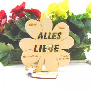 Personalisiertes Gutschein oder Geldgeschenk ♥ Alles Liebe ♥ Naturholz graviertes Kleeblatt 16 cm, Geschenk für jeden Anlass mit eigenen Namen - Handarbeit kaufen