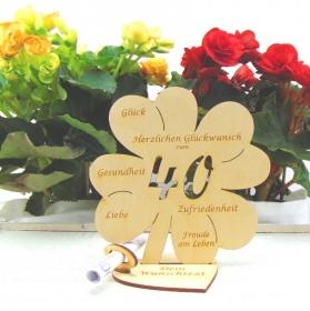 Personalisiertes Geldgeschenk ♥ Zum 40. Geburtstag ♥ Naturholz graviertes Kleeblatt 16 cm mit Herz Geschenk  mit eigenen Namen - Handarbeit kaufen
