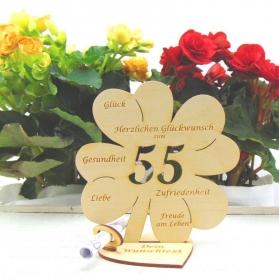 Personalisiertes Geldgeschenk ♥ Zum 55. Geburtstag ♥ Naturholz graviertes Kleeblatt 16 cm mit Herz Geschenk  mit eigenen Namen  - Handarbeit kaufen