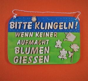 Spruch aus Holz in blau, grün ★ Bitte Klingeln wenn keiner aufmacht Blumen giessen & Rasen mähen ★ Türschild, Wanddeko, Haustürschild schenken - Handarbeit kaufen
