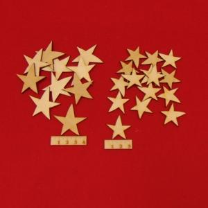 Holz Sterne 25 Stck naturbelassen in 4 cm und 3 cm gemischt Vintage Look für Weihnachtsdeko Tischdeko Adentsdeko - Handarbeit kaufen
