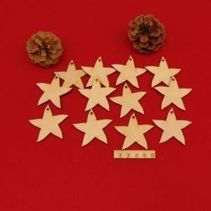 Holz Sterne 12 Stck naturbelassen in 5 cm mit Loch Vintage Look für Weihnachtsdeko   - Handarbeit kaufen