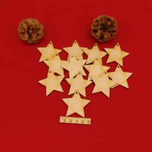 Holz Sterne 12 Stck naturbelassen in 5 cm mit Loch Vintage Look für Weihnachtsbaumbehang zum bemalen  - Handarbeit kaufen