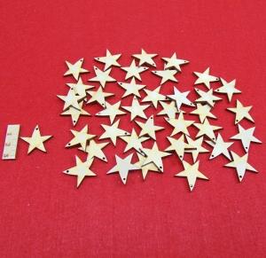 Holz Sterne 40 Stck naturbelassen in 3 cm mit Loch Vintage Look für Geschenkeanhänger oder Baumschmuck - Handarbeit kaufen