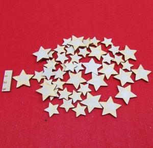 45 Stck Birkenholz Weihnachtssterne naturbelassen in 3 cm  und 2 cm gemischt Vintage Look für Weihnachtsdeko Tischschmuck - Handarbeit kaufen