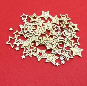 Holz Sterne 100 Stck naturbelassen in 3 cm 2 cm und 1 cm Vintage Look für Weihnachtsdeko  Ideen aus Holz zum Verzieren  - Handarbeit kaufen