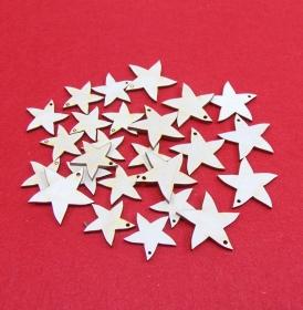 Holz Sterne 25 Stck naturbelassen in 4cm und 3 cm mit Loch Vintage Look für Weihnachtsdeko  Ideen aus Holz als Baumbehang  - Handarbeit kaufen