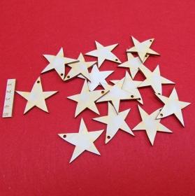 Holz Sterne 12 Stck naturbelassen in 5cm mit Loch Vintage Look für Weihnachtsdeko  Ideen aus Holz als Baumbehang  - Handarbeit kaufen