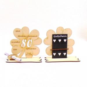 ♥ Personalisiertes Kleeblatt ♥ Geburtstagskleeblatt Zahl 80 mit Glückwünschen aus Holz 16 cm - Handarbeit kaufen