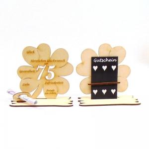 ♥ Personalisiertes Kleeblatt ♥ Geburtstagskleeblatt Zahl 75 mit Glückwünschen aus Holz 16 cm - Handarbeit kaufen