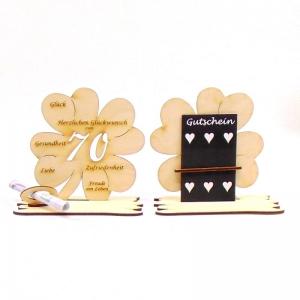 16 cm großes  ♥ Personalisiertes Kleeblatt ♥ Geburtstagskleeblatt Zahl 70 mit Glückwünschen aus Birkenholz  - Handarbeit kaufen