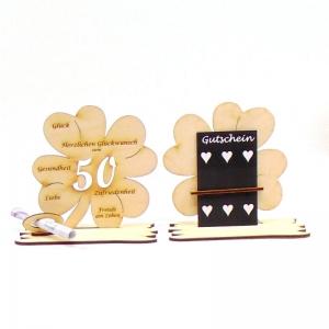 16 cm großes ♥ Personalisiertes Kleeblatt ♥ Geburtstagskleeblatt Zahl 50 mit Glückwünschen aus Birkenholz - Handarbeit kaufen