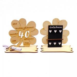 ♥ Personalisiertes Kleeblatt ♥ Geburtstagskleeblatt Zahl 40 mit Glückwünschen aus Holz 16 cm  - Handarbeit kaufen