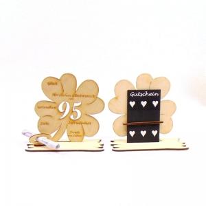♥ Personalisiertes Kleeblatt ♥ Geburtstagskleeblatt Zahl 95 mit Glückwünschen aus Holz 16 cm - Handarbeit kaufen