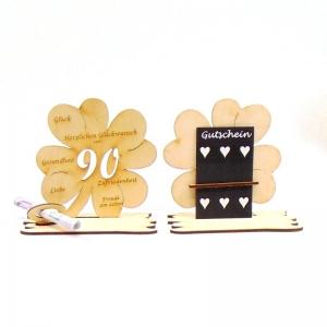 ♥ Personalisiertes Kleeblatt ♥ Geburtstagskleeblatt Zahl 90 mit Glückwünschen aus Holz 16 cm - Handarbeit kaufen
