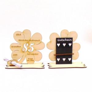 16 cm großes ♥ Personalisiertes Kleeblatt ♥ Geburtstagskleeblatt Zahl 85 mit Glückwünschen aus Birkenholz  - Handarbeit kaufen