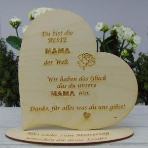 ★ Personalisiertes Muttertags Herz  aus  Holz ★ Du bist die beste Mama der Welt Geschenk Muttertag - Handarbeit kaufen