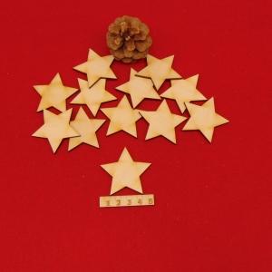 ★ Weihnachtssterne aus Holz ★ 12 Stück naturbelassen, 5 cm, Tischdeko, Weihnachtsdeko - Handarbeit kaufen