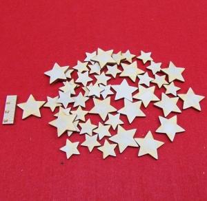 ★ Weihnachtssterne aus Holz ★ 15 Stück naturbelassen, 3 cm, Tischdeko, Weihnachtsdeko, Fensterdeko - Handarbeit kaufen
