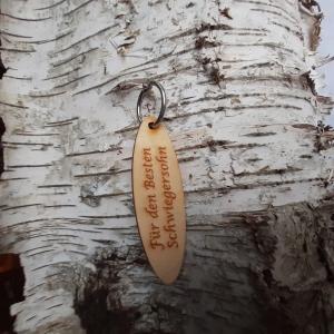 Schlüsselanhänger  ♥Für den besten Schwiegersohn ♥ aus Holz  zum Verschenken - Handarbeit kaufen