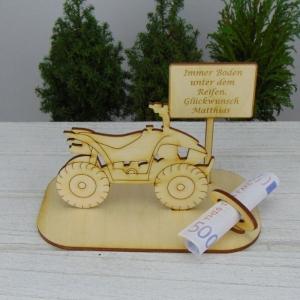 Geld- oder Gutscheingeschenkset ★ Quad aus Holz mit Aufschrift Immer Boden unter dem Reifen Personalisiert - Handarbeit kaufen