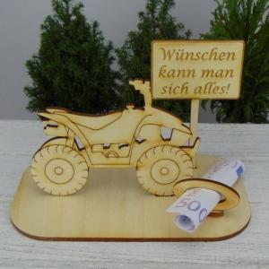 Geld- oder Gutscheingeschenkset ★ Quad aus Holz mit Aufschrift