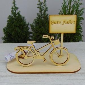 Geld- oder Gutscheingeschenkset ★ Damen E Bike aus Holz mit Aufschrift