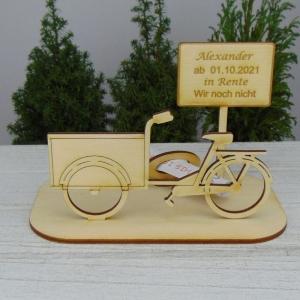 Geld- oder Gutscheingeschenkset ★ Lastenfahrrad aus Holz mit Aufschrift