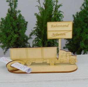 Geld- oder Gutscheingeschenkset ★ Truck aus Holz mit Aufschrift
