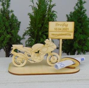 Geld- oder Gutscheingeschenkset ★ Motorrad aus Holz mit Aufschrift zum 30. Geburtstag - Handarbeit kaufen