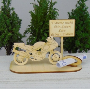 Geld- oder Gutscheingeschenkset ★ Motorrad aus Holz mit Aufschrift