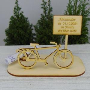 Geld- oder Gutscheingeschenkset ★ Fahrrad aus Holz mit Aufschrift