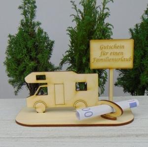 Geld- oder Gutscheingeschenkset ★ Alkoven Wohnmobil aus Holz mit Aufschrift