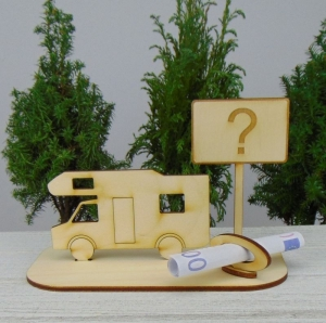 Geld- oder Gutscheingeschenkset ★ Alkoven Wohnmobil aus Holz mit Aufschrift  - Handarbeit kaufen