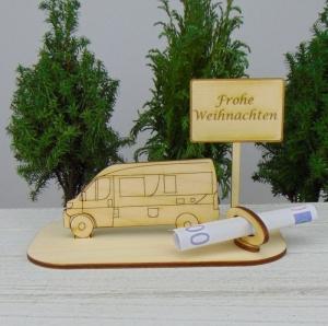 Geld- oder Gutscheingeschenkset ★ Van Wohnmobil aus Holz mit Aufschrift  - Handarbeit kaufen