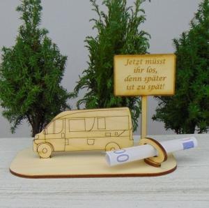 Geld- oder Gutscheingeschenkset ★ Van Wohnmobil aus Holz mit Aufschrift