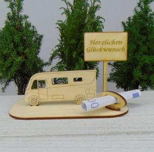 Geld- oder Gutscheingeschenkset ★ integriertes Wohnmobil aus Holz mit der Aufschrift