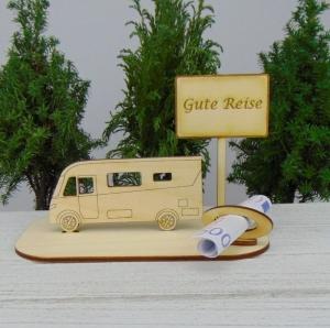 Urlaubsgeldgeschenk- oder Gutscheingeschenkset ★ integriertes Wohnmobil aus Holz mit der Aufschrift