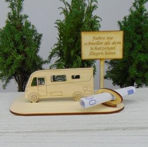 Geburtstag Geldgeschenk- oder Gutscheingeschenkset ★ integriertes Wohnmobil aus Holz mit der Aufschrift