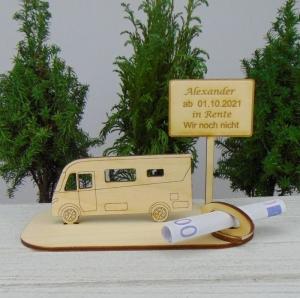 Geldgeschenk zur Rente - oder Gutscheingeschenkset ★ integriertes Wohnmobil aus Holz mit der Aufschrift