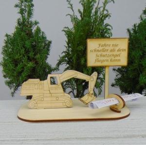 Geldgeschenk Baggerfahrer- oder Gutscheingeschenkset ★ Bagger aus Holz mit der Aufschrift