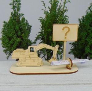 Geld- oder Gutscheingeschenkset ★ Bagger aus Holz mit der Aufschrift