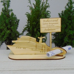 Geld- oder Gutscheingeschenkset ★ Kreuzfahrtschiff aus Holz mit der Aufschrift