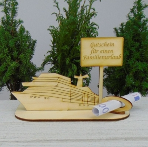 Geldgeschenk Urlaub- oder Gutscheingeschenkset ★ Kreuzfahrtschiff aus Holz mit der Aufschrift