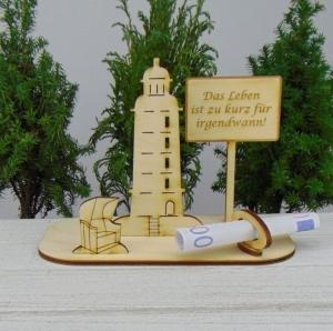 Geldgeschenk Urlaub - oder Gutscheingeschenkset ★ Leuchtturm aus Holz mit  Aufschrift