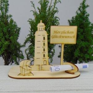 Geldgeschenk Geburtstag - oder Gutscheingeschenkset ★ Leuchtturm aus Holz mit Aufschrift