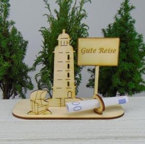 Geld- oder Gutscheingeschenkset ★ Leuchtturm aus Holz mit der Aufschrift