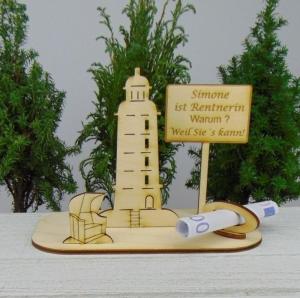 Geldgeschenk- oder Gutscheingeschenkset ★ Leuchtturm aus Holz mit Aufschrift
