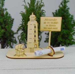 Geld- oder Gutscheingeschenkset ★ Leuchtturm aus Holz mit Aufschrift
